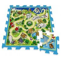 vloerpuzzel Track groen/blauw 9-delig