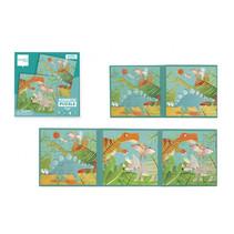 puzzelboek dino magnetisch karton groen 40-delig