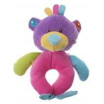 pluche rammelaar beer paars/roze 16 cm