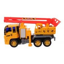 vrachtwagen met kraan  21,5 x 10 x 14 cm geel/rood