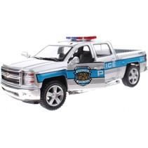 politie-auto metaal zilver 13 cm pullback
