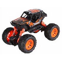 auto Crawler jongens 17 cm staal zwart/oranje