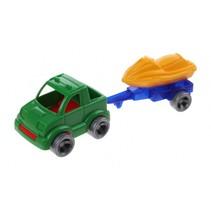 Kids Cars aanhanger met jetski groen/geel