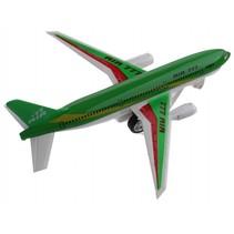 vliegtuig met licht en geluid pull-back 18 cm groen