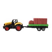 tractor met hout 16,5 cm geel