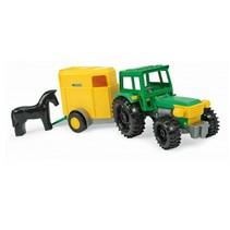 tractor met trailer 36 cm geel