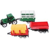tractor met aanhangers groen/rood 4-delig