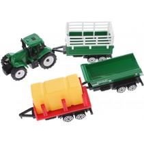 tractor met aanhangers groen/rood/geel 4-delig