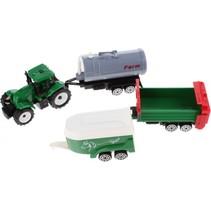 tractor met aanhangers groen/grijs/wit 4-delig