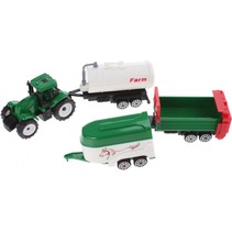 tractor met aanhangers groen/wit 4-delig