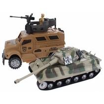 Army gevechtstank met jeep 30 cm bruin 3-delig
