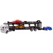 autotransporter Super Cars met 3 auto's 31.5 cm wit