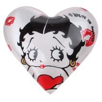 magneet hart Betty Boop 4 cm glas wit/zwart