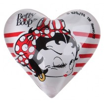 magneet hart Betty Boop 4 cm glas wit/rood