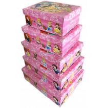 opbergdozen Prinsessen meisjes roze 5 stuks