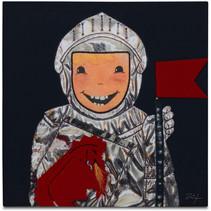 schilderij Ridder Rob jongens 30 cm canvas zwart/grijs