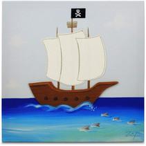 schilderij Piratenschip jongens 30 cm canvas blauw/wit
