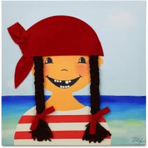 schilderij Piraat Paula meisjes 30 cm canvas rood/blauw
