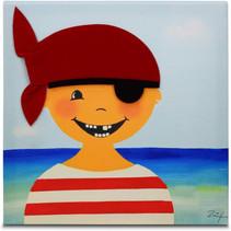 schilderij Piraat Paul jongens 30 cm canvas rood/blauw