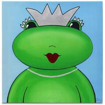 schilderij Kikkerkoningin meisjes 30 cm canvas groen