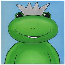 schilderij Kikkerkoning jongens 30 cm canvas groen