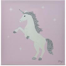 schilderij Eenhoorn meisjes 30 cm canvas roze/wit