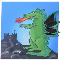 schilderij Draak Max jongens 30 cm canvas blauw/groen