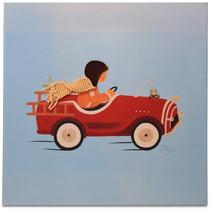 schilderij Bob in Auto jongens 30 cm canvas blauw/rood