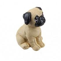 beeldje hond 5 cm bruin/zwart