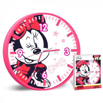 wandklok Minnie meisjes 25 cm roze/wit
