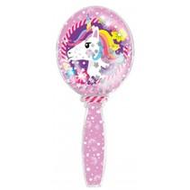 haarborstel Unicorn Glitter 17,5 cm meisjes roze