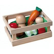 Houten krat met groenten 7-delig