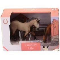 paard met veulen 11 cm / 8 cm bruin/zwart/wit