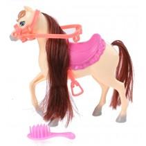 paard met zadel en hoofdstel crème 14,5 cm