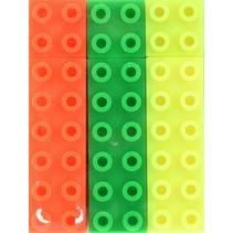 markeerstift neon bouwstenen 3 stuks