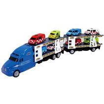 autotranssporter met hulpdiensten junior 53 cm blauw 7-delig