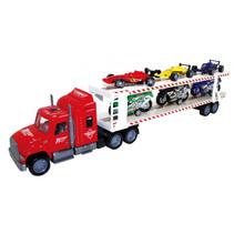 autotransporter met Formule 1/motoren 57 cm rood 7-delig
