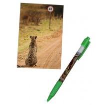 notitieboekje met pen luipaard 12 cm