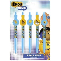 balpennen met clip 14 cm blauw/geel 5 stuks