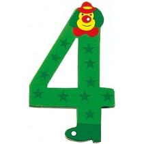 cijfer 4 Clowns hout 8 cm