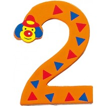 cijfer 2 Clowns hout 8 cm