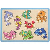 vormenpuzzel zeedieren 8 stukjes blauw
