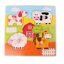 vormenpuzzel boerderijdieren 4 stukjes