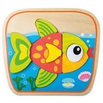 houten vormenpuzzel vis 4 stukjes
