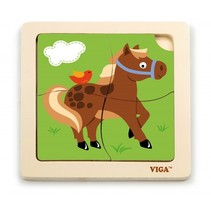 houten legpuzzel paard 4 stukjes