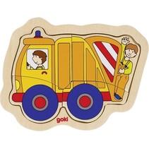 houten vormenpuzzel Vuilniswagen 15,5 x 12,5 cm 4 stukjes