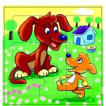 legpuzzel honden hout 9 stukken 15 x 15 cm