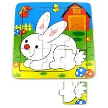legpuzzel hout konijn 9 stukjes 15 x 15 cm multicolor