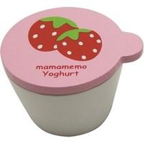 bakje aardbeienyoghurt hout 4 cm wit/roze