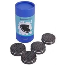 pak chocoladekoekjes hout 9,5 cm zwart/blauw 4 stuks